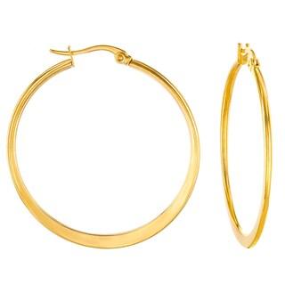 ELYA High Polish Stainless Steel Flat Hoop Earrings (Option: Yellow)