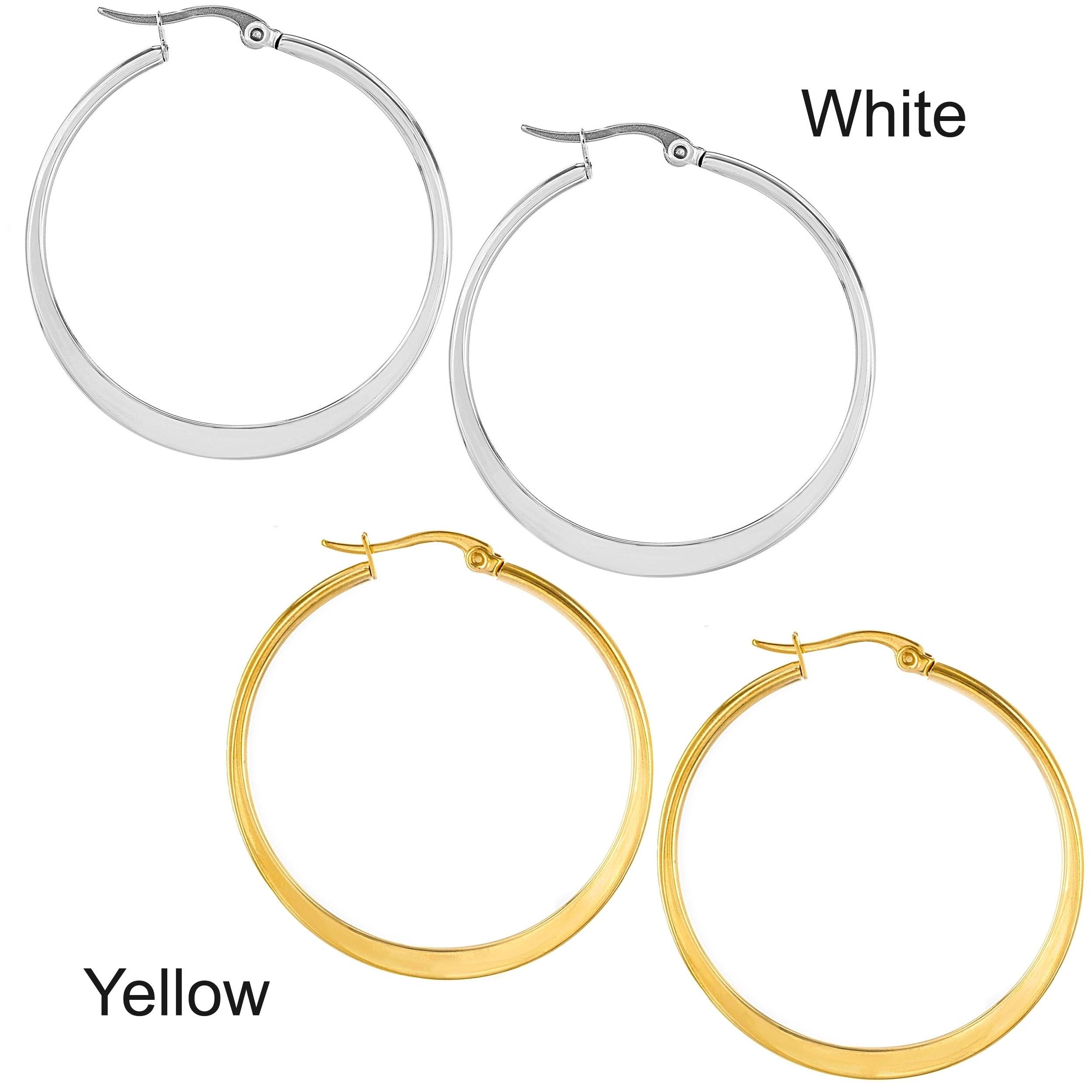 Stainless Steel Flat Hoop Clip Back Earrings Pair