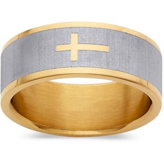 Yellow Goldplated Stainless Steel Two Tone Cross Ring