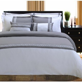 Superior Emma Greek Key Embroidered Microfiber 7-piece Duvet Cover Set