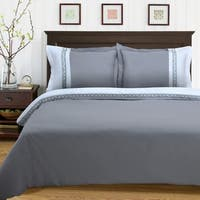 Superior Emma Greek Key Embroidered Microfiber Duvet Cover Set