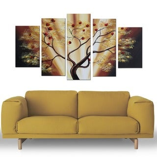 Fruitful Tree' 5-piece Landscape Oil Painting