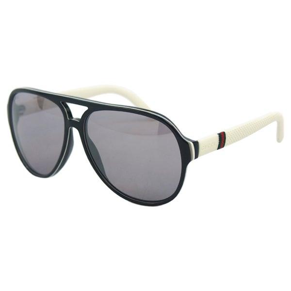 9e65e77a21b Shop Gucci Men s GG 1065 S 4UQ3R Black  White Ice Aviator Sunglasses ...