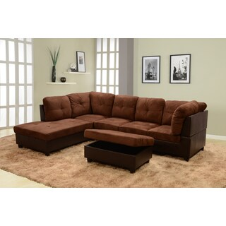 black microsuede and faux leather sectional set with storage ottoman