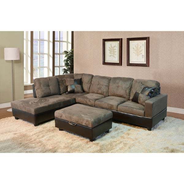 Delima 3 Piece Brown Microsuede Sectional Set Free Shipping Today 9290999