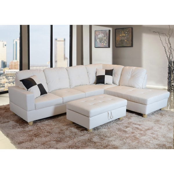 Delma 3 Piece White Faux Leather Right Chaise Sectional