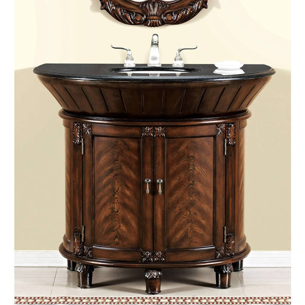 ica furniture anteros demilune brown cherry bathroom vanity - free