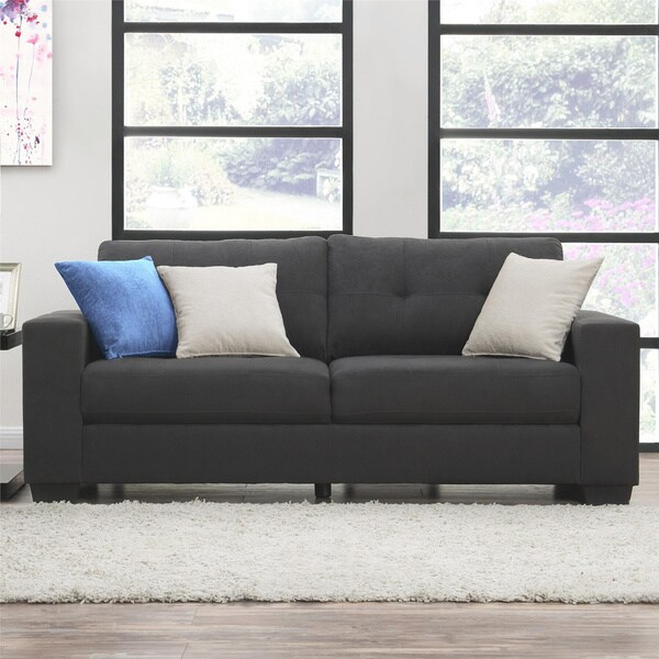 Dorel Living Asher Grey Microfiber Sofa