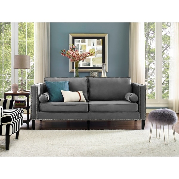 Shop Cooper Grey Velvet Sofa Free Shipping Today