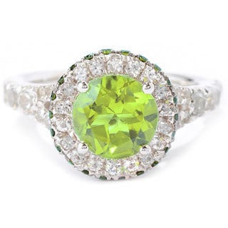 Sterling Silver 3 4/5ct TGW Peridot/ White Topaz Halo Gemstone Ring