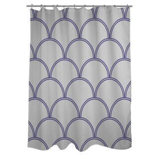 Art Deco Circles Grey/ Navy Shower Curtain