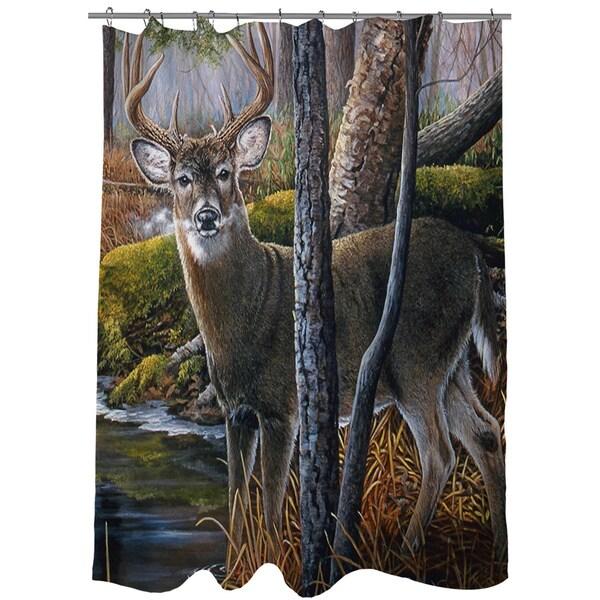 Beaver Pond Buck Shower Curtain
