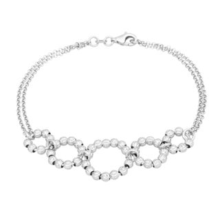 La Preciosa Sterling Silver Diamond-cut Moonbeads Circle Link Bracelet