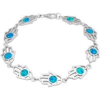 La Preciosa Sterling Silver Created Blue Opal Hamsa Hand Link Bracelet