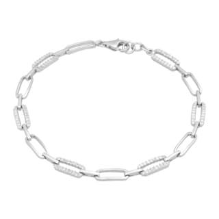 La Preciosa Sterling Silver Micro Pave Cubic Zirconia Oval Link Bracelet