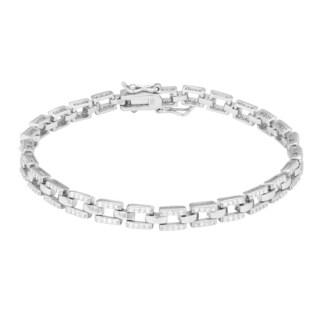 La Preciosa Sterling Silver Micro Pave Cubic Zirconia Square Link Bracelet