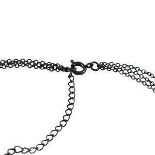 Luxiro Druzy Quartz and Czech Crystal Oval Pendant Necklace