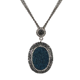 Luxiro Druzy Quartz and Czech Crystal Oval Pendant Necklace