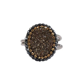 Luxiro Druzy Sterling Silver Druzy Quartz and Czech Crystal Ring