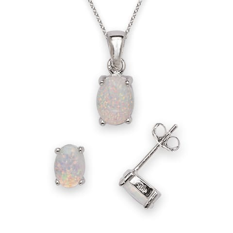 Sterling Silver Created Opal Earring and Pendant Necklace Jewelry Set
