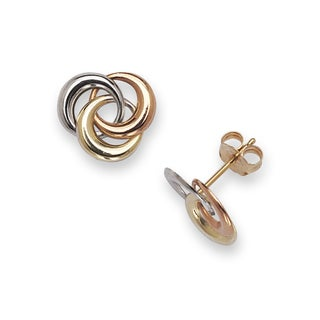 14k Tri-color Modern Circle Earrings