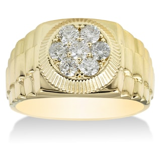 14k Yellow Gold Mens 4/ 5ct TDW Diamond Ring