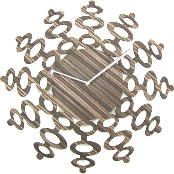 Mid-century Modern 19-inch Rustic Luxe Handmade Wood Clock