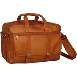 Men's David King Leather 100 Expandable Laptop Briefcase Tan