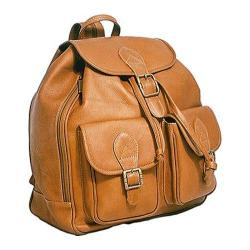 David King Leather 314 Double Front Pocket Backpack Tan