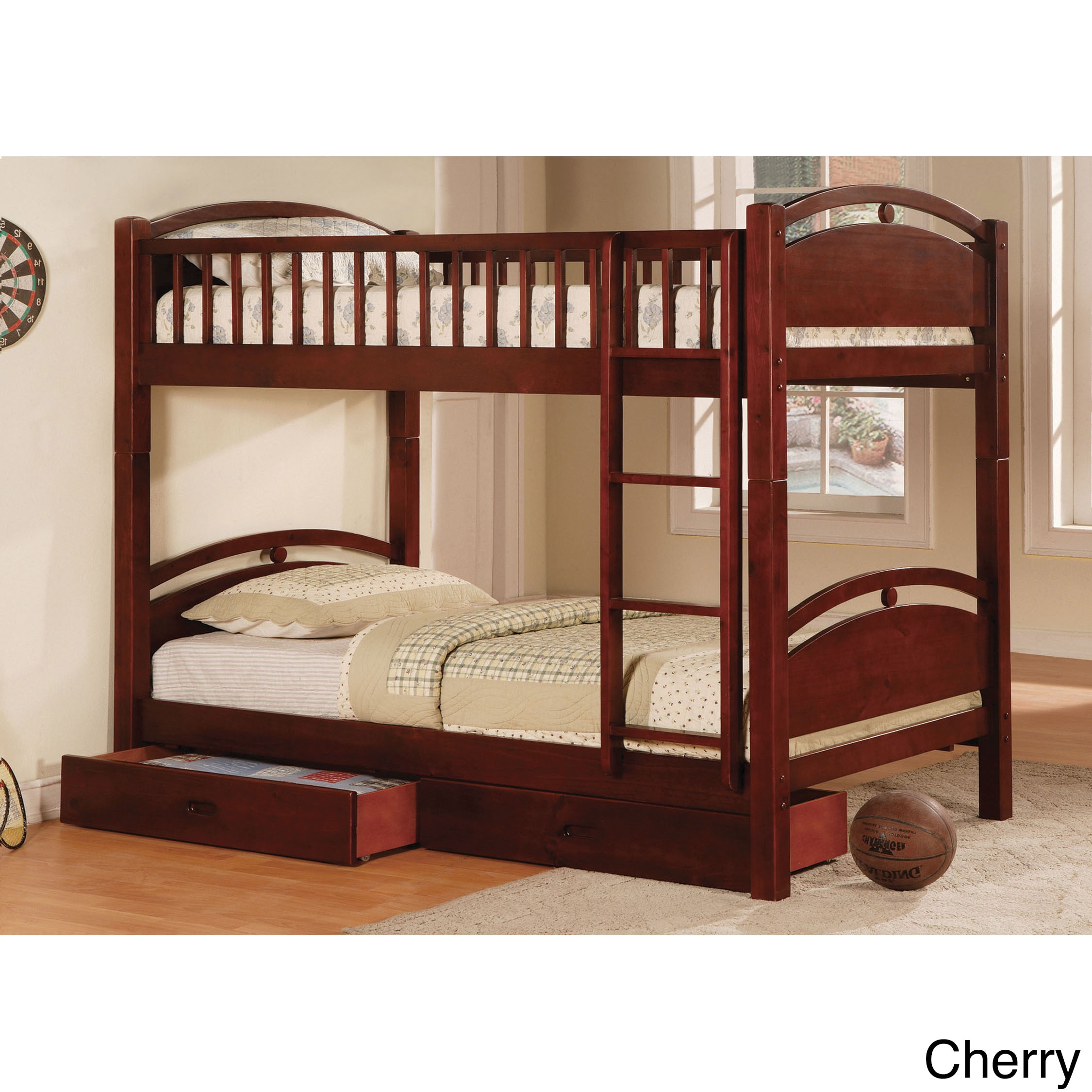Furniture of America Arcmille Twin over Twin Bunk Bed wit...
