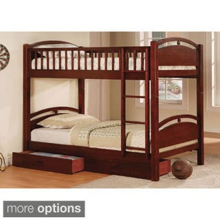 Furniture of America Arcmille Twin over Twin Bunk Bed with Drawers