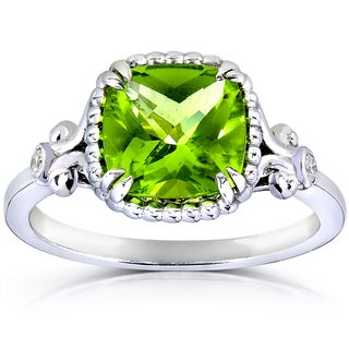 Annello by Kobelli 14k White Goldplated Silver Cushion-cut Peridot Diamond Accent Ring (G