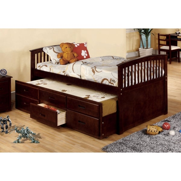 furniture of america bernadette dark walnut mission style captain bed with storage trundle - Captain Bed