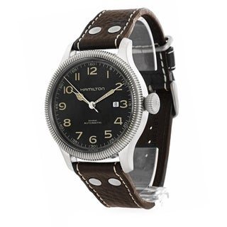 Hamilton Men's H60515533 Khaki Pioneer Black Dial Leather Watch