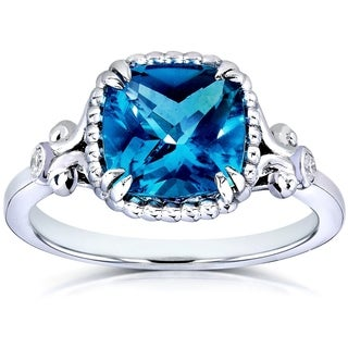 Annello by Kobelli 14k White Goldplated Silver Cushion-cut London Blue Topaz Diamond Accent Ring