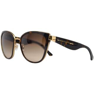 Dolce & Gabbana Women's DG 2107 02/13 Havana Gold Aviator Sunglasses