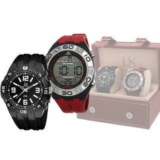 Joshua & Sons Men's Swiss Quartz Digital/Analog Strap Watch Set (Option: Red)