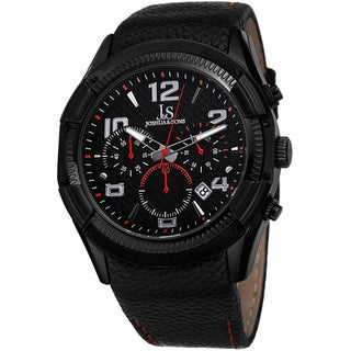 Joshua & Sons Men's Chronograph Leather Red Strap Watch