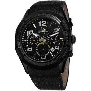 Joshua & Sons Men's Chronograph Leather Strap Watch