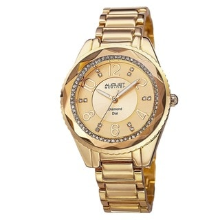August Steiner Women's Swiss Quartz Diamond & Crystal Gold-Tone Bracelet Watch