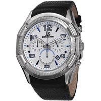 Joshua & Sons Men's Chronograph Leather Blue Strap Watch