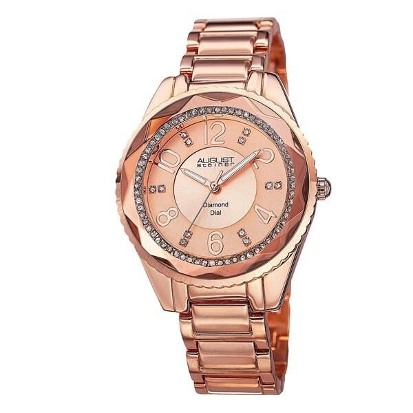 August Steiner Women's Swiss Quartz Diamond & Crystal Rose-Tone Bracelet Watch