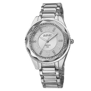 August Steiner Women's Swiss Quartz Diamond & Crystal Silver-Tone Bracelet Watch