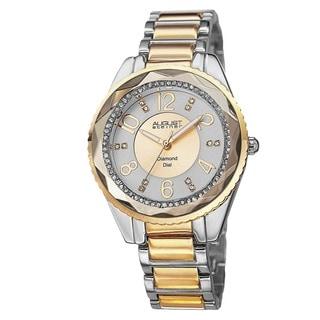 August Steiner Women's Swiss Quartz Diamond & Crystal Two-Tone Bracelet Watch