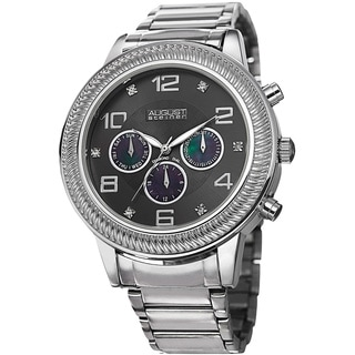 August Steiner Men's Diamond Swiss Quartz Multifunction Silver-Tone Bracelet Watch
