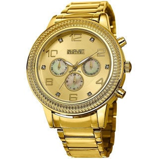 August Steiner Men's Diamond Swiss Quartz Multifunction Gold-Tone Bracelet Watch