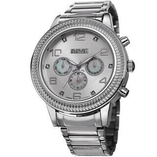 August Steiner Men's Diamond Swiss Quartz Multifunction Silver-Tone Bracelet Watch