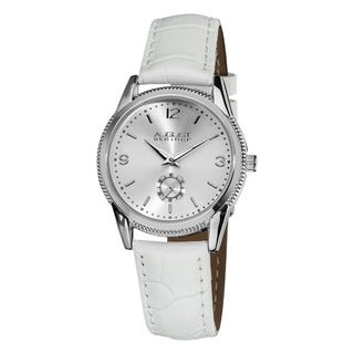 August Steiner Women's Leather Swiss Quartz White Watch