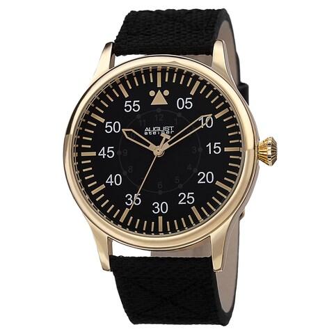 August Steiner Men's Swiss Quartz Canvas Gold-Tone Strap Watch
