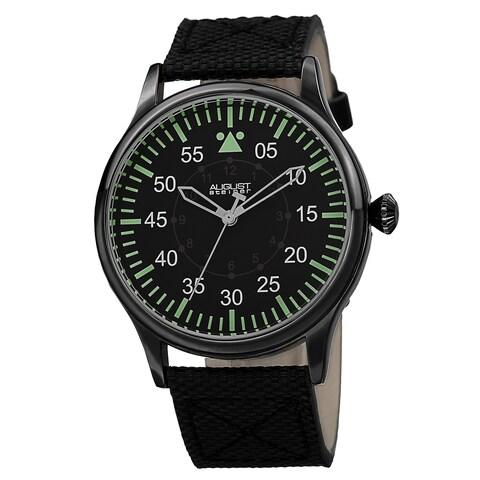 August Steiner Men's Swiss Quartz Canvas Black Strap Watch